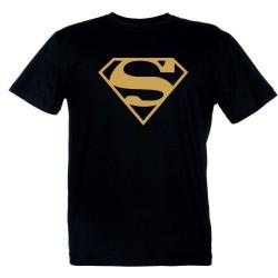 Superman - Maglietta Nera Logo Oro