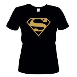 Superman - Maglietta Donna Nera Logo Oro