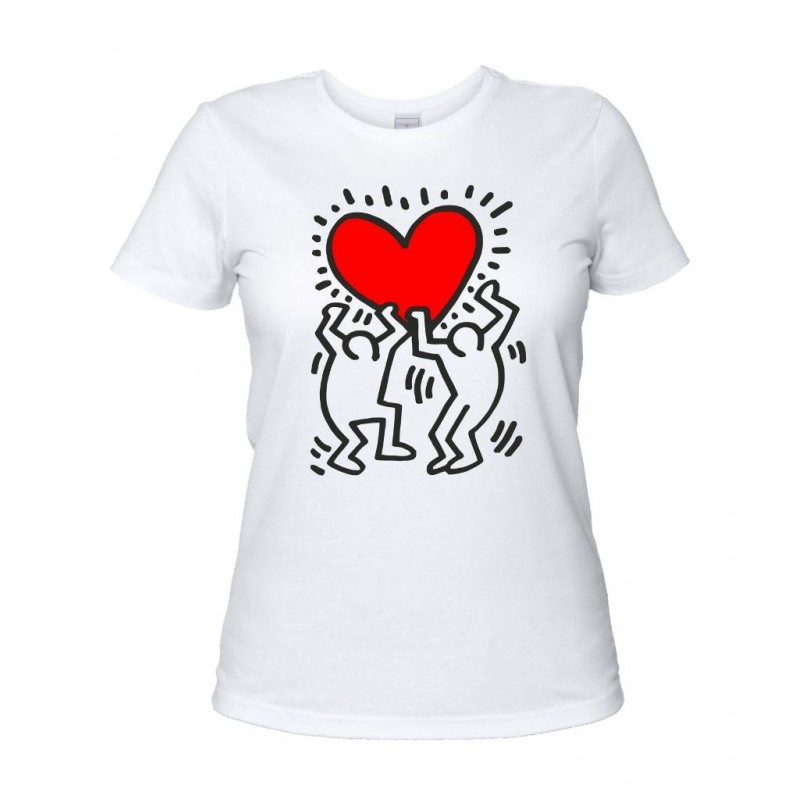Keith Haring - T-Shirt Donna Cuore Bianca