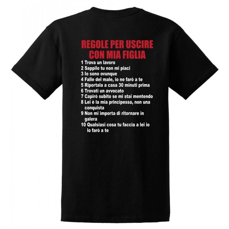 Regole per Uscire con mia Figlia - T-Shirt Nera Divertente