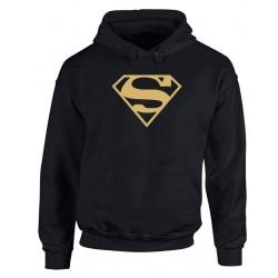 Superman - Felpa Cappuccio Uomo Logo Oro