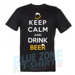Keep Calm and Drink Beer - Maglietta Uomo Divertente Birra