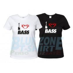 I Love Bass - T-Shirt Donna Bassista