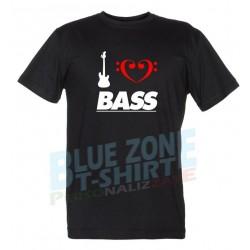 I Love Bass - Maglietta Uomo Bassista