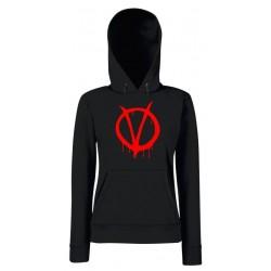 V per Vendetta - Felpa Cappuccio Donna Logo Rosso