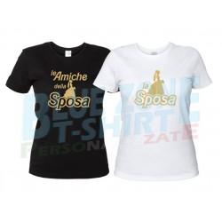 Sposa e Amiche - Magliette Addio al Nubilato Stampa Oro