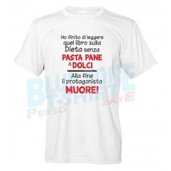 maglietta divertente libro dieta pasta dolci
