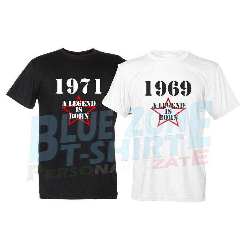 A Legend is born Maglietta personalizzata Anno di Nascita t-shirt Compleanno uomo
