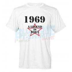 A Legend is born Maglietta personalizzata Anno di Nascita t-shirt Compleanno uomo bianca
