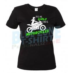 maglietta donna motociclista real girls ride motorcycles nera