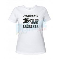 maglietta finalmente mi ho laureata t-shirt divertente laurea bianca