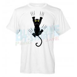 maglietta uomo divertente gatto nero graffia stampa fronte
