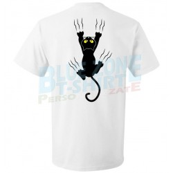 maglietta uomo divertente gatto nero graffia stampa retro