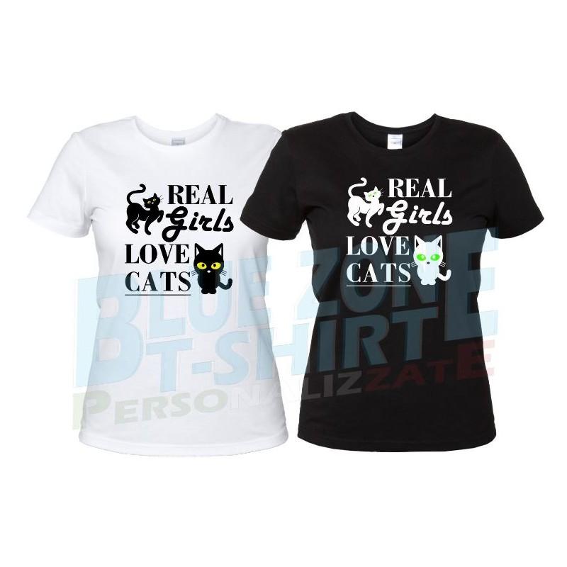 maglietta donna real girl love cats gatti