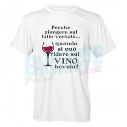maglietta sul vino bevuto divertente t-shirt uomo bianca