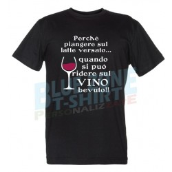 maglietta sul vino bevuto divertente t-shirt uomo nera